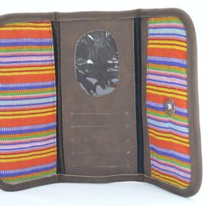 Billeteras de tela multicolor acabados de cuero café